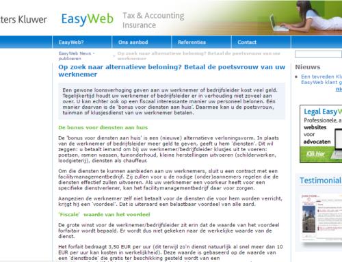 Wolters kluwer – Easyweb- Op zoek naar alternatieve beloning? Betaal de poetsvrouw van uw werknemer